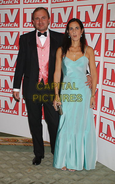 MAJOR JAMES INGRAM & WIFE.TV Quick Awards At The Dorchester, London.full length, full-length, funny face, light blue metallic, pink vest, tuxedo.www.capitalpictures.com.sales@capitalpictures.com.©Capital Pictures