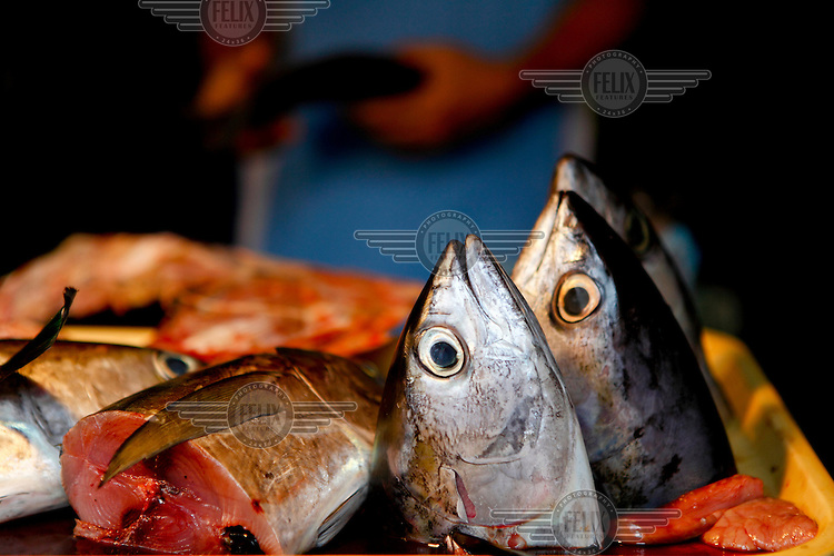 Fish heads on a fishmongers stall.