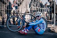 An emotional Jana Czeczinkarova (CZE) post-finish<br /> <br /> Women&rsquo;s U23 race<br /> <br /> UCI 2019 Cyclocross World Championships<br /> Bogense / Denmark<br /> <br /> &copy;kramon