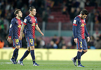 FC Barcelona's Jordi Alba, Christian Tello and David Villa dejected after Copa del Rey - King's Cup semifinal second match.February 26,2013. (ALTERPHOTOS/Acero) /Nortephoto