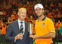 13-sept.-2013,Netherlands, Groningen,  Martini Plaza, Tennis, DavisCup Netherlands-Austria, Jean-Julien Rojer receives KNLTB prize<br /> Photo: Henk Koster
