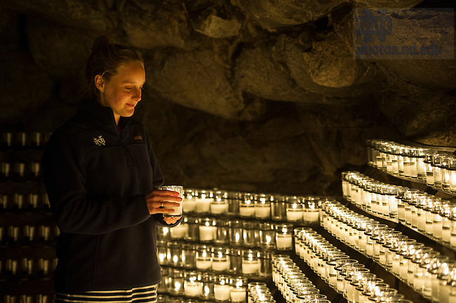 Oct. 16, 2014; Pre-pilgrimage blessing at the Grotto for Campus Ministry students. (Photo by Barbara Johnston/University of Notre Dame)