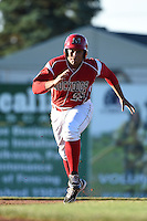 Batavia Muckdogs first baseman Carlos Duran (25) running the bases during a game against the Mahoning Valley Scrappers on June 21, 2014 at Dwyer Stadium in Batavia, New York.  Batavia defeated Mahoning Valley 10-6.  (Mike Janes/Four Seam Images)
