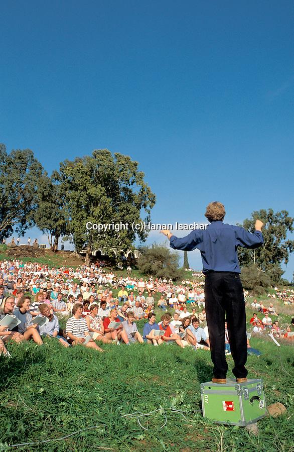Israel, Sea of Galilee, pilgrims on the Mount of Beatitudes