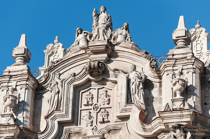 Havana, Cuba; the baroque facade of the Gran Teatro, one of the world's largest Opera Houses