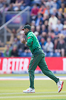 Mashrafe Mortaza (Bangladesh) safely holds onto the catch to dismiss Jason Roy (England) during England vs Bangladesh, ICC World Cup Cricket at Sophia Gardens Cardiff on 8th June 2019