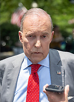 Director of the National Economic Council Larry Kudlow speaks to reporters on the North Driveway of the White House in Washington, DC on Wednesday, July 3, 2019.  Kudlow took questions on the trade deal with China. Photo Credit: Ron Sachs/CNP/AdMedia