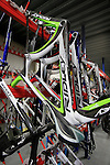 Frames lined up at the Ridley factory in Paal-Beringen, Belgium, 21st March 2013 (Photo by Eoin Clarke 2013)