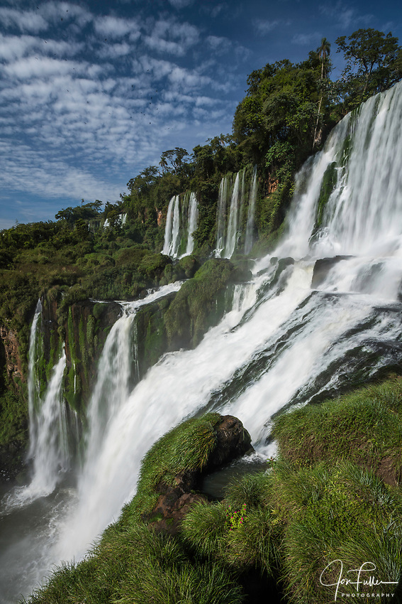 Iguazu Falls National Park in Argentina.  A UNESCO World Heritage Site.  Pictured are  Bossetti Falls with the Adam and Eve Falls at left.
