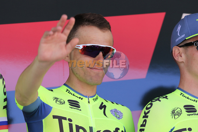 Rafal Mijka (POL) Tinkoff at sign on before the start of Stage 2 of the 2016 Giro d'Italia running 190km from Arnhem to Nijmegen, The Nethrerlands. 7th May 2016.<br /> Picture: Eoin Clarke | Newsfile<br /> <br /> <br /> All photos usage must carry mandatory copyright credit (&copy; Newsfile | Eoin Clarke)