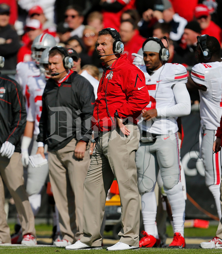 Ohio State Buckeyes head coach Urban Meyer during the second half of the NCAA football game at Ross-Ade Stadium in West Lafayette, IN on Saturday, November 2, 2013. (Columbus Dispatch photo by Jonathan Quilter)