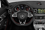 Car pictures of steering wheel view of a 2018 Mercedes Benz SLC-Roadster AMG-SLC43 2 Door Convertible Steering Wheel