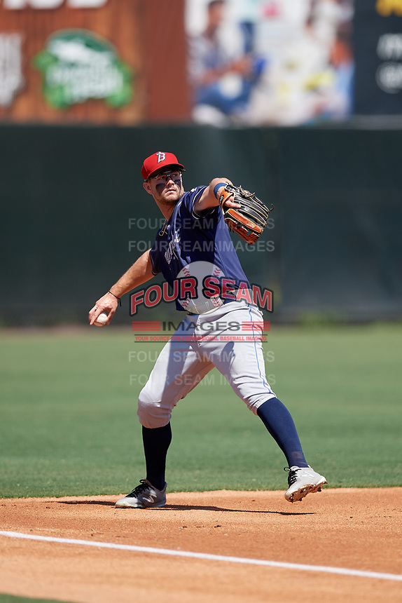 Binghamton Rumble Ponies third baseman David Thompson (17) throws to first base during an Eastern League game against the Bowie Baysox on August 21, 2019 at Prince George's Stadium in Bowie, Maryland.  Bowie defeated Binghamton 7-6 in ten innings.  (Mike Janes/Four Seam Images)