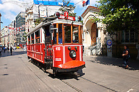 historic tram of stiklal Avenue or Istiklal Street (stiklâl Caddesi, French: Grande Rue de Péra, or Independence Avenue)  one of the most famous avenues in Istanbul, Turkey