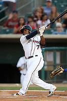 Delino DeShields,jr. #7 of the Lancaster JetHawks bats against the Rancho Cucamonga Quakes at Clear Channel Stadium on August 22, 2012 in Lancaster, California. Rancho Cucamonga defeated Lancaster 8-7. (Larry Goren/Four Seam Images)