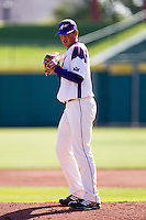 Kyle Lloyd (35) of the Evansville Purple Aces stands on the mound during a game against the Indiana State Sycamores in the 2012 Missouri Valley Conference Championship Tournament at Hammons Field on May 23, 2012 in Springfield, Missouri. (David Welker/Four Seam Images)
