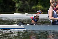 Henley. Berks, United Kingdom. <br /> <br /> JW4+, cox making the calls. 2017 Henley' Women's Regatta. Rowing on, Henley Reach. River Thames. <br /> <br /> <br /> Saturday  17/06/2017<br /> <br /> <br /> [Mandatory Credit Peter SPURRIER/Intersport Images]