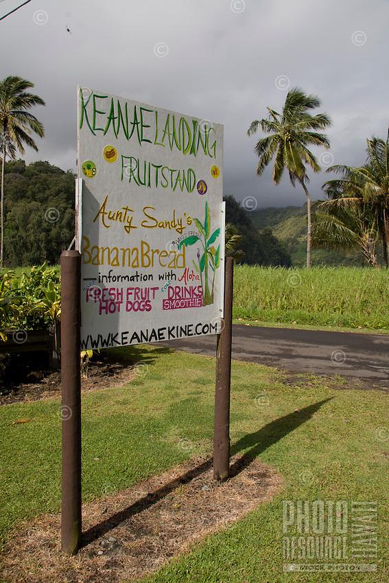 Ke'anae Landing Fruit Stand sign along the road to Hana, Maui.