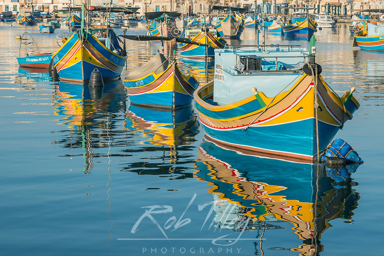 Eurpoe, Malta, Marsaxlokk, Traditional Fishing Boats