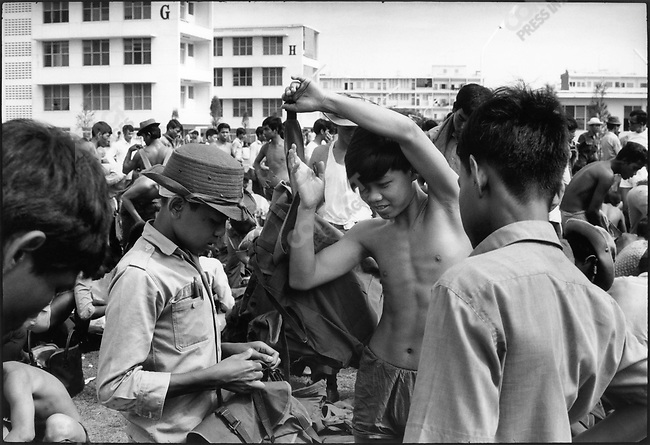 Following the coup ousting Prince Sihanouk, acting head of state General Lon Nol calls for a mobilization of all 17 to 45 year-old men, Phnom Penh, Cambodia, April 1970