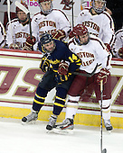 Kyle Singleton (Merrimack - 14), Brendan Silk (BC - 9) - The Boston College Eagles defeated the visiting Merrimack College Warriors 4-3 on Friday, November 16, 2012, at Kelley Rink in Conte Forum in Chestnut Hill, Massachusetts.