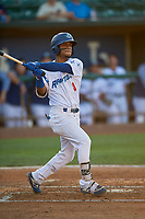 Jeremy Arocho (8) of the Ogden Raptors at bat against the Missoula Osprey at Lindquist Field on August 12, 2019 in Ogden, Utah. The Raptors defeated the Osprey 4-3. (Stephen Smith/Four Seam Images)