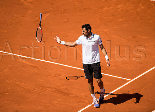 01.06.2015. Roland Garros, Paris, France. Jeremy Chardy of France in action against Andy Murray of Great Britain during their Men's singles match on day nine of the 2015 French Open at Roland Garros on June 1, 2015 in Paris, France.