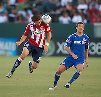 Chivas USA forward Alan Gordon (16) heads the ball during the first half of the game between Chivas USA and the Kansas City Wizards at the Home Depot Center in Carson, CA, on September 19, 2010. Final score Chivas USA 0, Kansas City Wizards 2.