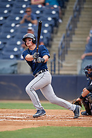 Lakeland Flying Tigers catcher Austin Athmann (19) follows through on a swing during a game against the Tampa Tarpons on April 8, 2018 at George M. Steinbrenner Field in Tampa, Florida.  Lakeland defeated Tampa 3-1.  (Mike Janes/Four Seam Images)