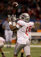 James Louis of Ohio State catches the ball during warmups before the game against Arkansas during 77th Annual Allstate Sugar Bowl Classic at Louisiana Superdome in New Orleans, Louisiana on January 4th, 2011.  Ohio State defeated Arkansas, 31-26.