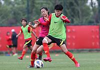 14th May 2020, Suzhou, southeastern Jiangsu Province of East China;  Wang Shanshan R, player of Chinas womens national football team attends an open training session in Suzhou