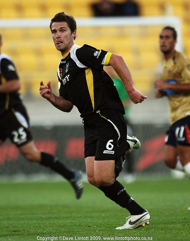 Phoenix captain Tim Brown chases the ball during the A-League match between Wellington Phoenix and Newcastle Jets at Westpac Stadium, Wellington, New Zealand on Sunday, 4 January 2009. Photo: Dave Lintott / lintottphoto.co.nz