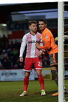 Matthew Godden of Stevenage and Tiago Ilori of Reading during Stevenage vs Reading, Emirates FA Cup Football at the Lamex Stadium on 6th January 2018