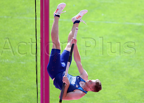 August 6th 2017, London Stadium, East London, England; IAAF World Championships, Day 3; Christopher Nilsen of USA competing in the Men's Pole Vault Qualification