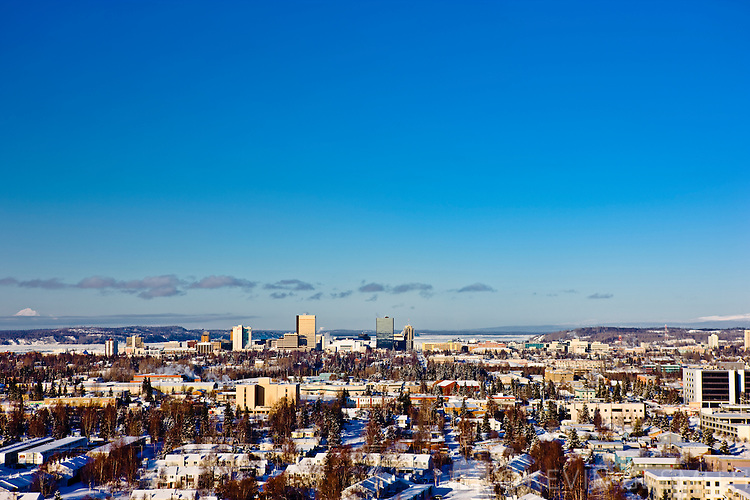 Arieal photo of Mid-Town Anchorage, winter, Southcentral Alaska, USA.
