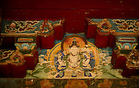 Wall mural painting in a monastery in Kalimpong, India. Age is over a few hundred years.