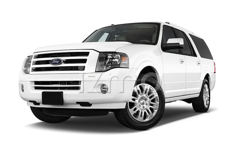 Stock pictures of low aggressive front three quarter view of a 2014 Ford Expedition Limited EL 5 Door SUV Low Aggressive