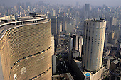 Sao Paulo, Brazil. Edificio Copan and the Hilton Hotel with the city behind.