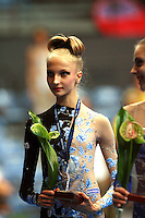 Junior team medals...Maryia Yushkevich of Belarus at 2006 Portimao World Cup of Rhythmic Gymnastics on September 9, 2006 at Portimao, Portugal.  (Photo by Tom Theobald)