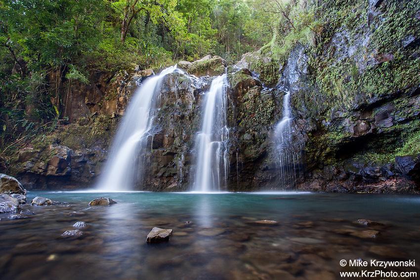 "Upper Waikani Falls (A.K.A. ""Three Bears""), on the road to Hana, Maui"