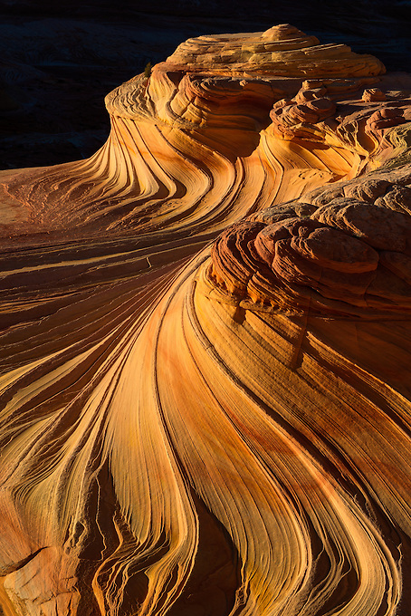 Last light of the day illuminates the lines and curves of this unique sandstone formation in Coyote Buttes North, Arizona.