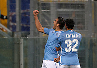 Calcio, Serie A: Lazio vs Udinese. Roma, stadio Olimpico, 13 settembre 2015.<br /> Lazio&rsquo;s Alessandro Matri, left, celebrates with teammate Danilo Cataldi after scoring during the Italian Serie A football match between Lazio and Udinese at Rome's Olympic stadium, 13 September 2015.<br /> UPDATE IMAGES PRESS/Isabella Bonotto