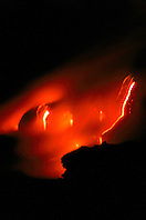 creation of new land, hydromagnetic explosions occur when molten lava flows into ocean, Hawaii Volcanoes National Park at night, Kilauea, Big Island, Hawaii, USA, Pacific Ocean