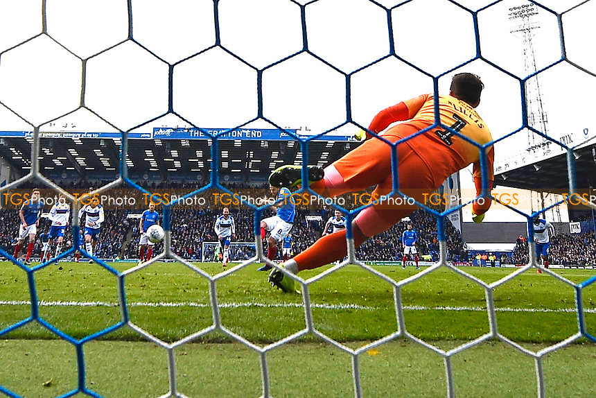Brett Pitman of Portsmouth scores the second goal from the penalty spot to make the score 2-0  during Portsmouth vs Rochdale, Sky Bet EFL League 1 Football at Fratton Park on 13th April 2019