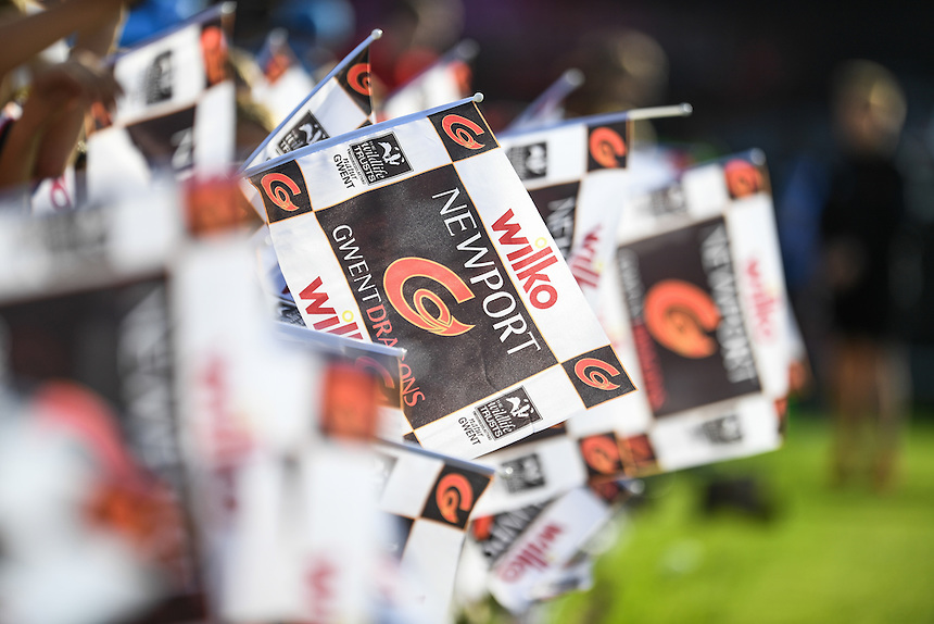 Newport Gwent Dragons flags ahead of tonight game<br /> <br /> Photographer Craig Thomas/CameraSport<br /> <br /> Guinness PRO12 Round 3 - Newport Gwent Dragons v Munster Rugby - Saturday 17 September 2016 - Rodney Parade - Newport<br /> <br /> World Copyright &copy; 2016 CameraSport. All rights reserved. 43 Linden Ave. Countesthorpe. Leicester. England. LE8 5PG - Tel: +44 (0) 116 277 4147 - admin@camerasport.com - www.camerasport.com