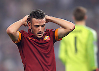 Calcio, Champions League, Gruppo E: Roma vs Bayern Monaco. Roma, stadio Olimpico, 21 ottobre 2014.<br /> Roma's Alessandro Florenzi reacts during the Group E Champions League football match between AS Roma and Bayern at Rome's Olympic stadium, 21 October 2014.<br /> UPDATE IMAGES PRESS/Isabella Bonotto