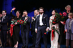 James Graham, Diane Paulus, Garry Barlow, Harvey Weinstein, Matthew Morrison, Laura Michelle Kelly and Mia Michaels during the Broadway Opening Night Performance curtain call for  'Finding Neverland'  at The Lunt-Fontanne  Theatre on April 15, 2015 in New York City.