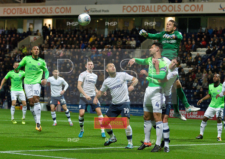 12/09/2017 Sky Bet League Championship Preston North End v Cardiff City<br /> <br /> Chris Maxwell punches clear