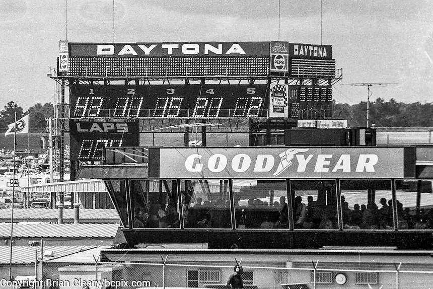 The old scoring tower and the old GoodYear building, 1978 Firecracker 400 NASCAR race, Daytona International Speedway, Daytona Beach, FL, July 4, 1978.  (Photo by Brian Cleary/ www.bcpix.com )