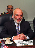King Hussein I , of the Hashemite Kingdom of Jordan, meets with Secretary of Defense William S. Cohen in the Pentagon on April 2, 1997.                                                              .Mandatory Credit: Helene C. Stikkel / DoD via CNP.